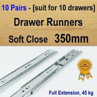 10 pairs soft close Cabinet Cupboard Kitchen Vanity drawer runners /Slides 350mm
