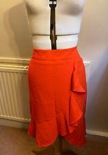 Oasis women bright orange frill wrap skirt party knee length skirt UK10 EU36 US6