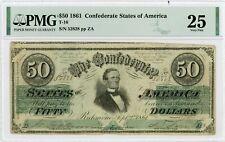 1861 T-16 $50 The Confederate States of America Note - CIVIL WAR Era PMG VF 25