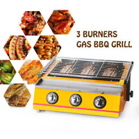3 Burner Gas LPG BBQ Grill Camping Outdoor Caravan Cooking Machine Smokeless