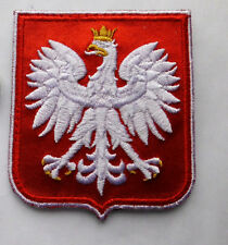 Big Beautiful Polish Army badge, EAGLE & Crown , for cap arm, RED SHIELLD POLAND