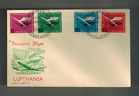 1955 West Germany Airservice Cover # C61-C64 Lufthansa