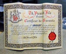 Garanzia cartacea PICARD & Fils.Originale anni '50  Dimensioni cm 16,5 x 11,5