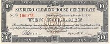 San Diego Clearing House Certificate $10 Series C 3.6.1933  Uncirculated