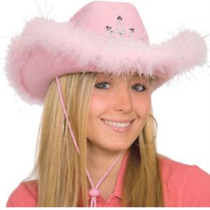 Pink Felt Cowboy Hat With Light Up Tiara & Boa Trim Sequin Cowgirl Bachelorette