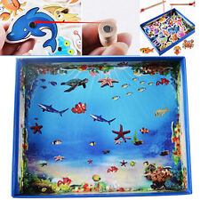 Baby Educational Toy Fish Wooden Magnetic Fishing Rod Set Game Kids Gifts 32Pcs