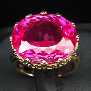 TOPAZ PINK RASPBERRY OVAL 25.40 CT. 925 STERLING SILVER ROSE GOLD RING SZ 6.75