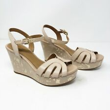 Clarks Amelia Page Women Sz 6 M Beige Nude Leather Wedge Platform Heel Peep Toe