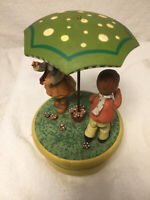 "Anri Thorens Music Box - Boy, Girl, 4"" Umbrella - ""Raindrops Keep Falling..."""
