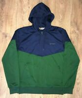 Carhartt Goal Jacket rare mens navy green hoodie hooded sweater track top size S