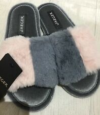 JAEGER - LADIES SLIPPERS MULES FAUX FUR SIZE 3 - 4 COMFY SLIP ONS XMAS GIFT NEW