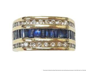 Massive 14k Gold 2ctw Natural Sapphire Mens Ring 1.50ct Diamond 17.9g Large Sz11