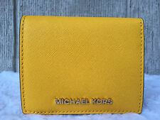 NEWAU Michael Kors Jet Set Travel Flap Card Holder Wallet Saffiano SUNFLOWER $68