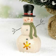 Country Christmas LED Snowman with Top Hat by Blossom Bucket