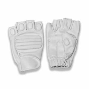 Men's Leather Half Finger Biker Gloves Motorcycle Driving Tactical Padded Palm