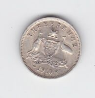 1910 strong advance Australia Sterling Silver Threepence Coin N-640