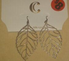 -Shaped Earrings Silver Tone Nwt Charming Charlie Leaf