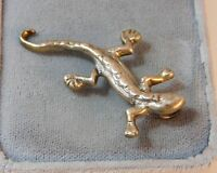 Vintage Signed LD Sterling Silver Newt Lizard Gecko Brooch Pendant combo 9h 28
