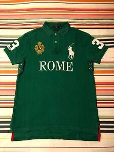 Polo Ralph Lauren Mens Rome Italy Polo Shirt | Green | Medium Custom Fit
