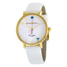 Kate Spade Metro White Enamel Dial Leather Strap Ladies Watch 1YRU0765