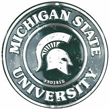 "Michigan State University Spartans Embossed Metal 12"" Circle Sign"