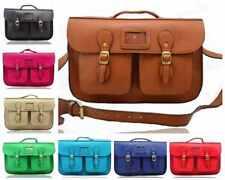 New Women's Large Real Vintage Faux Leather School Satchel Shoulder Bag Hand Bag