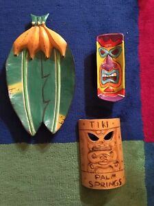 Wooden TIKI STYLE MASK , Banana Tray and Ceramic Tray
