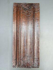 Antique wooden oak carved panel with linen fold design
