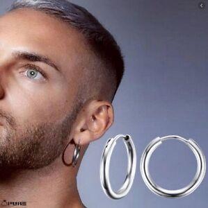 20mm  Women Men Titanium Steel Silver Cartilage Endless Huggie Hoop Earrings