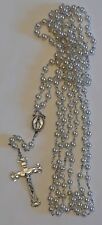 """VINTAGE STERLING SILVER CHAPEL CROSS NECKLACE W/PEARLS 50"""" LONG CRUCIFIX 2.25"""""""