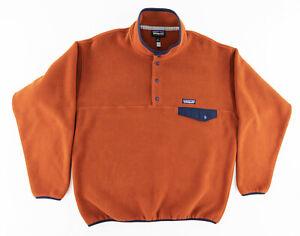 Patagonia Mens Large Synchilla Snap T Pullover Fleece Jacket Orange Brown