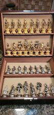 Italian Metal Chess Set, Large Solid Brass/Nickel, Custom Box Firenze Medici