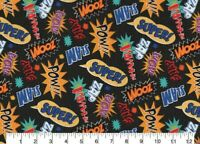 "MARVEL DC COMICS FABRIC SUPERHERO ACTION WORDS ZOOM ZAP WHAMM BLACK  12"" REMNANT"