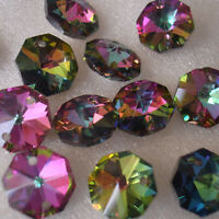 50Pcs 14mm Octagonal Crystal Glass Pendant Beads Jewelry Making DIY More Color