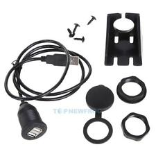 Car Dashboard Flush Mount Dual USB 2.0 Type A Socket Extension Cable Panel Kit