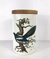 "Vintage PortmeirIon Birds of Britain 8"" Storage Canister Wood Lid Magpie Bird"