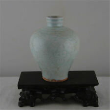 CHINESE OLD HUTIAN CELADON GLAZE CARVED FLOWER PATTERN PORCELAIN PLUM VASE