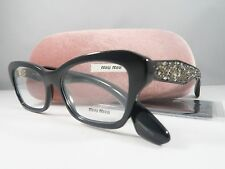 Miu Miu VMU 05O 1AB-1O1 Shiny Black/Rock Crystals New Authentic Eyeglasses 53mm