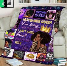 November Queen Fleece Blanket Gift For Black Girl Birthday November