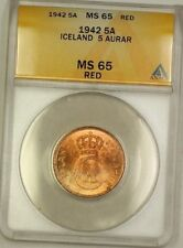 1942 Iceland 5A Five Aurar Copper Coin ANACS MS-65 Red GEM BU (D)