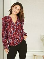 Women's Floral Print Long Sleeve Romantic Ruffle Blouse - a New Day Size Small