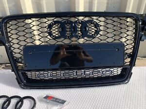 AUDI A4/S4 B8 09-12 8T HONEYCOMB MESH RS4 STYLE HEX GRILLE GRILL BLACK QUATTRO