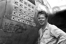 aviation art pilot photo postcard colour WW2 Richard Bong USAAF P38 Lightning