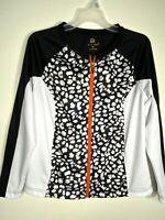 Ac-tiv-ology Womens Jacket Animal Print Black White Full Zipper 2 Pockets Med