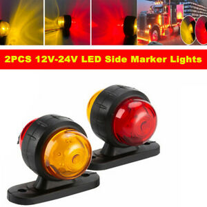2PCS 12V-24V Truck Grille Strobe Lights Side Marker Indicator Flash Warning Lamp
