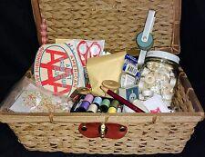 Vintage Wicker Sewing Basket Lot