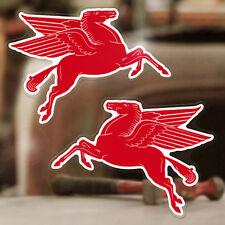 "2x pieces Mobiloil Horse sticker decal classic hot rod Mobil oil 5.25"""