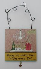 t Happy Birthday Sparkly wishes for you Champagne celebration CURLY GIRL PLAQUE