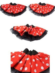 Red White Polka Dot Minnie Mouse Tutu Skirt Dress Costume Hen Party Book Week