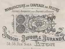 """""""CHAPEAUX de FEUTRE BRUSCHI DUFOUR & DURAND"""" Etiquette-chromo originale fin 1800"""